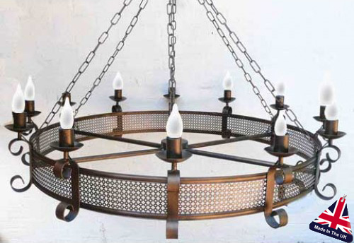 Large 10 Arm Wrought Iron Cartwheel Ceiling Light UK Made