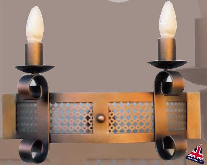 Cartwheel Wrought Iron Twin Wall Light UK Made 973-2