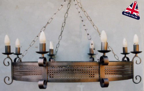 Large 8 Lamp Gothic Iron Cartwheel Ceiling Light Uk Made 973 8