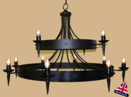 Large 2 Tier Wrought Iron Cartwheel Chandelier UK Made