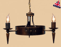 Cartwheel Wrought Iron 3 Light Chandelier UK Made