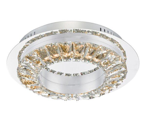Dar Altamura Dimming LED Flush Ceiling Light Stainless Steel & Crystal