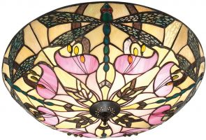 Ashton Flush Tiffany Ceiling Lamp Art Nouveau Dragonfly