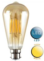 Pear Shaped B22 Filament LED Amber Light Bulb Warm White 440 Lumen
