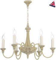 David Hunt Bailey Traditional 6 Light Antique Cream Chandelier