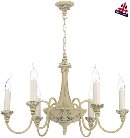 David Hunt Bailey 6 Light Chandelier Antique Cream Traditional