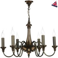 David Hunt Bailey Traditional 6 Light Bronze Chandelier UK Made