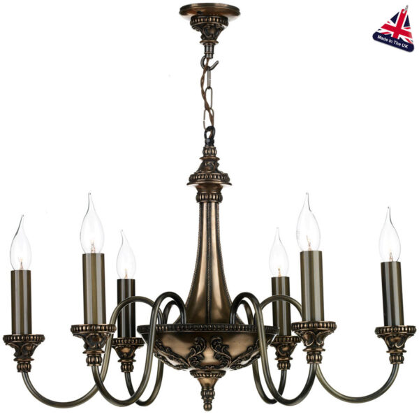 David Hunt Bailey Traditional 6 Light Bronze Chandelier UK Made
