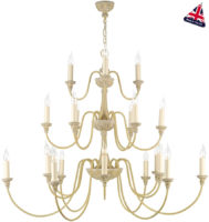 David Hunt Bailey Antique Cream Tiered 21 Light Large Chandelier