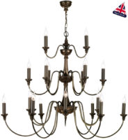David Hunt Bailey Bronze Tiered 21 Light Large Chandelier