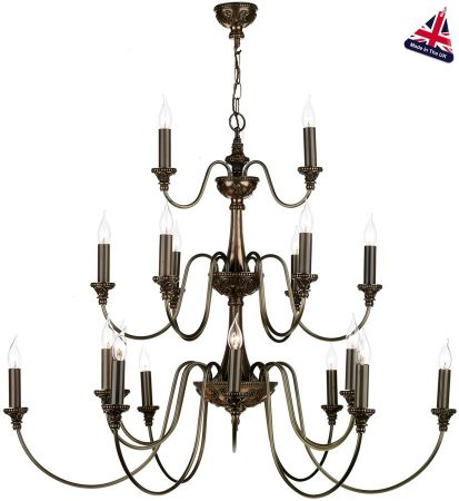 David Hunt Bailey 21 Light Large 3 Tier Chandelier Rich Bronze