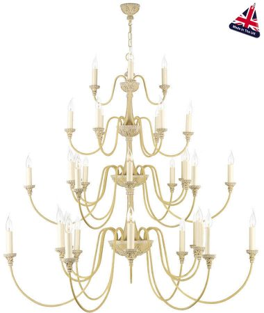 David Hunt Bailey 33 Light Extra Large 4 Tier Chandelier Antique Cream