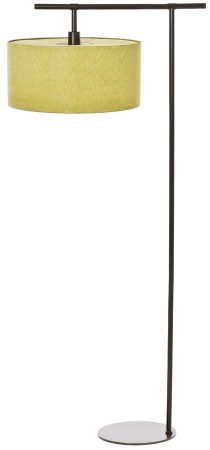 Elstead Balance Dark Matt Copper Floor Lamp Lime Drum Shade