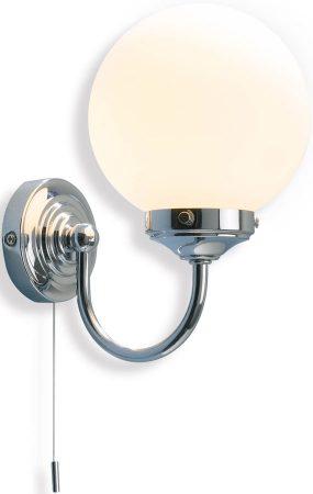 Dar Barclay Bathroom Wall Light Switched Polished Chrome
