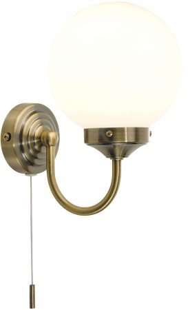 Dar Barclay Bathroom Wall Light Switched Antique Brass