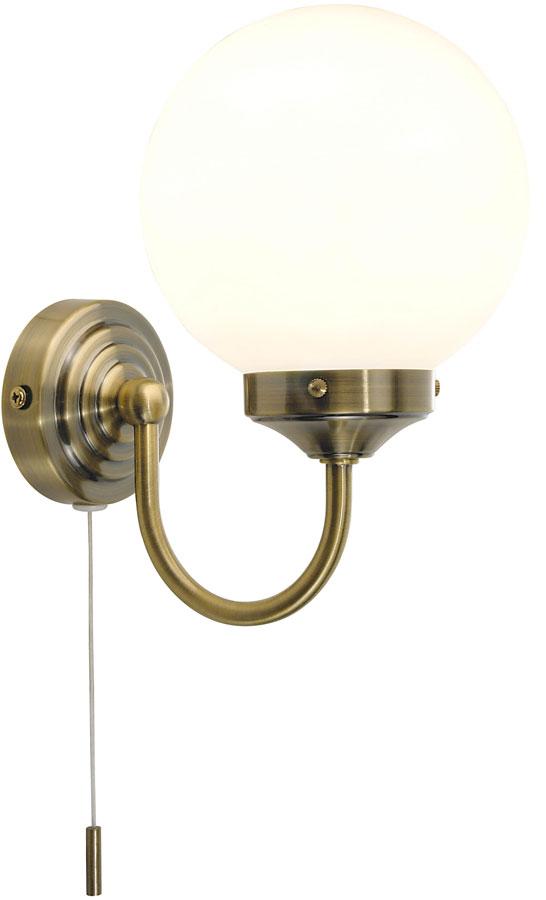 Dar Barclay Bathroom Wall Light Switched Antique Brass Bar0775