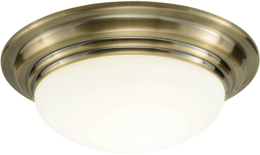 Traditional Bathroom Barclay Flush Fitting Glass Ceiling: Dar Barclay Large Flush Bathroom Ceiling Light Brass BAR5075