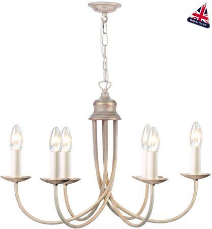 David Hunt Bermuda 6 Light Chandelier Cream and Gold UK Made