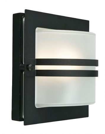Bern Art Deco Frosted Glass Outdoor Wall Lantern Black