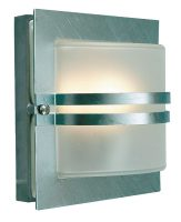 Bern Art Deco Frosted Glass Outdoor Wall Lantern Galvanised