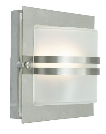 Bern Art Deco Frosted Glass Outdoor Wall Lantern Stainless Steel