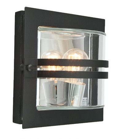 Bern Art Deco Clear Glass Outdoor Wall Lantern Black