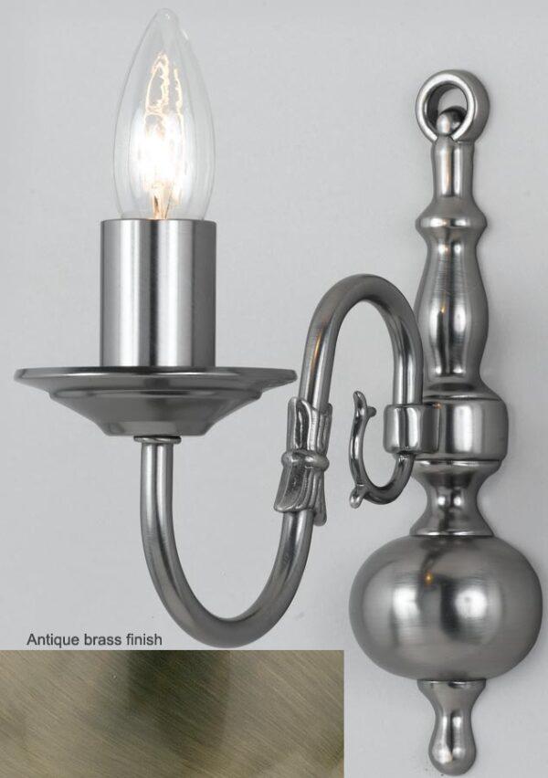 Flemish Solid Brass 1 Lamp Wall Light Antique Finish