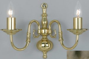 Flemish Solid Brass 2 Lamp Wall Light Antique Finish