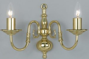Flemish Style Solid Polished Brass Traditional 2 Lamp Wall Light