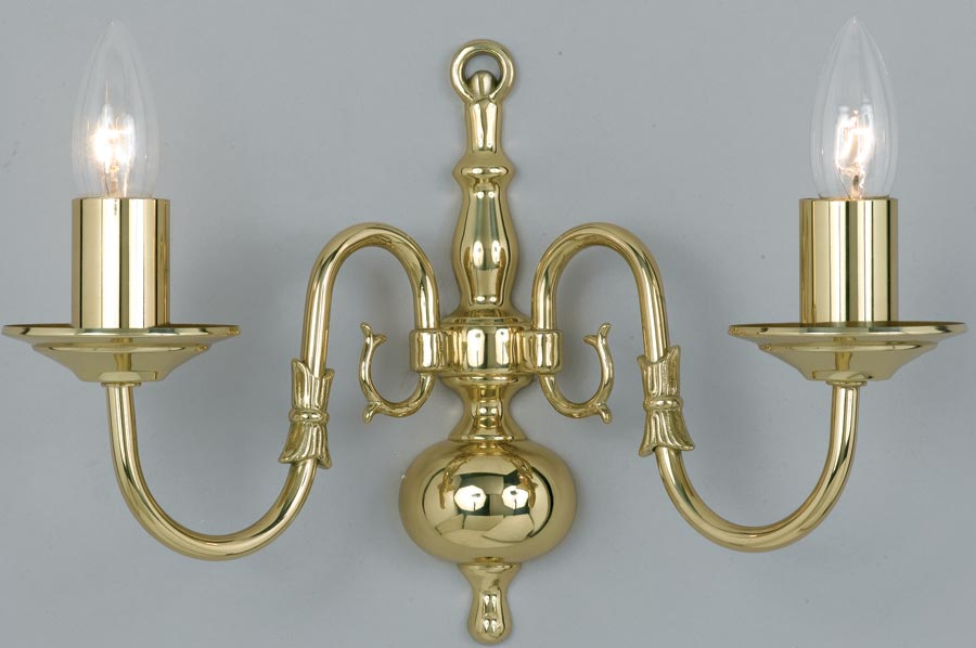 Flemish Style Solid Polished Brass Traditional 2 Lamp Wall Light Universal Lighting