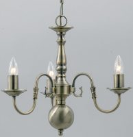 Flemish Solid Brass 3 Light Chandelier Antique Finish