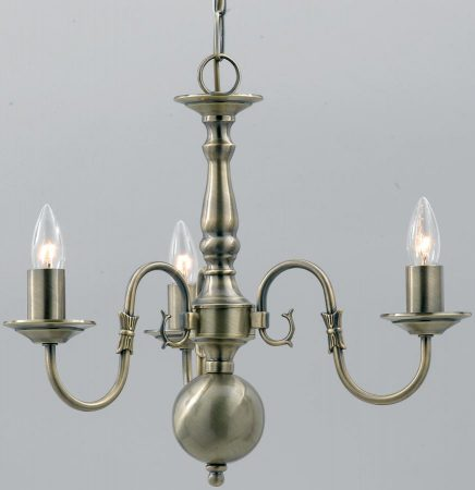 Flemish Solid Brass 3 Light Chandelier Antique Finish