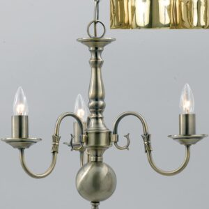 Flemish Style Solid Polished Brass Traditional 3 Light Chandelier