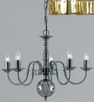 Flemish Style Solid Polished Brass Traditional 5 Light Chandelier