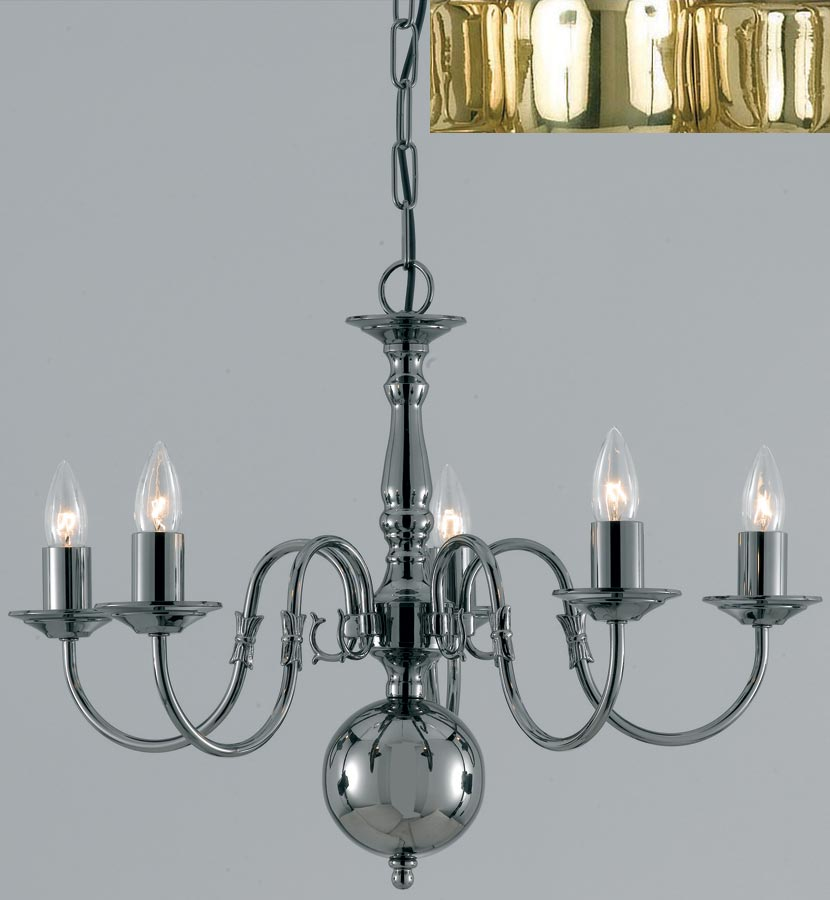 Flemish style solid polished brass traditional 5 light chandelier universal lighting - Popular chandelier styles ...