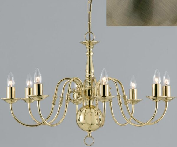 Flemish Solid Brass 8 Light Chandelier Antique Finish