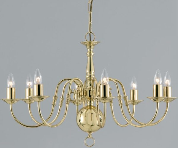 Flemish Style Solid Polished Brass Traditional 8 Light Chandelier