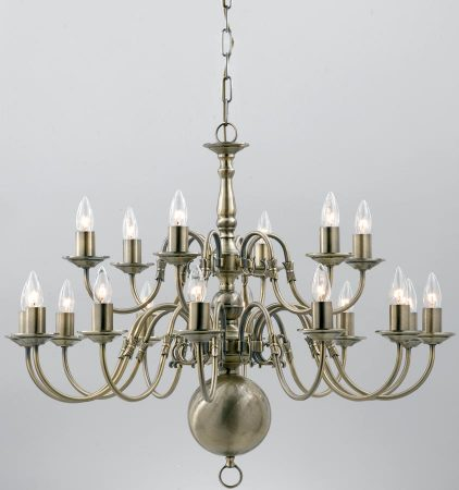 Flemish Large Solid Brass 18 Light Chandelier Antique Finish