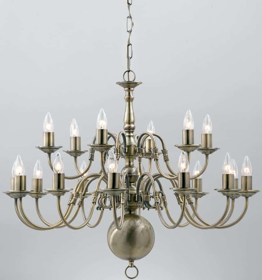 Flemish Large Solid Brass 18 Light Chandelier Antique