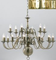 Flemish Style Large Solid Polished Brass 18 Light Chandelier