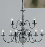 Flemish Solid Brass 9 Light 2 Tier Chandelier Antique Finish