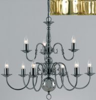 Flemish Style Solid Polished Brass 9 Light 2 Tier Chandelier