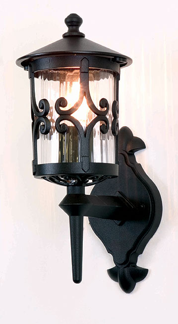 Elstead Hereford Old English Outdoor Up Wall Lantern Black