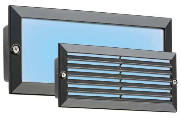 Black 5w Blue LED Recessed Brick Light Plain & Louvred Covers IP54