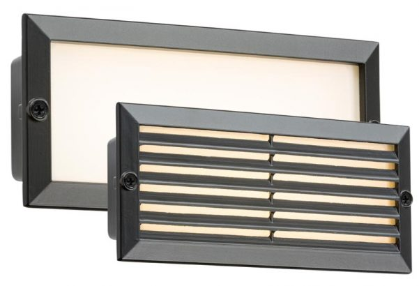 Black 5w LED Recessed Outdoor Brick Light Plain & Louvred Covers IP54