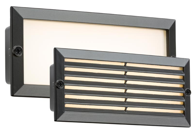 Black 5w LED recessed brick light plain and louvred covers IP54