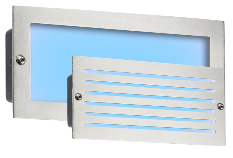 Brushed steel 5w blue LED recessed brick light plain and louvred covers IP54