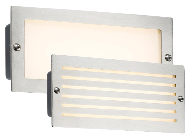 Brushed steel 5w LED outdoor brick light plain and louvred covers IP54