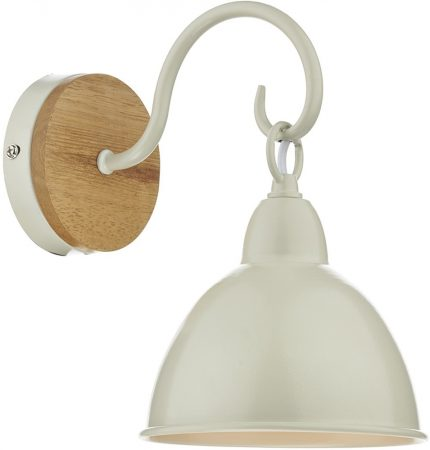 Dar Blyton Single Wall Light Cream Painted Metal Shade Wood