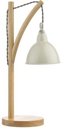 Dar Blyton Modern Wooden Table Lamp Cream Metal Shade